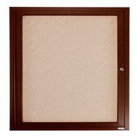Aarco WBC3636R 36 inch x 36 inch Enclosed Hinged Locking 1 Door Bulletin Board with Walnut Finish