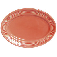 Tuxton Concentrix CNH-136 Cinnebar 13 3/4 inch x 10 1/2 inch Oval China Platter 6 / Case