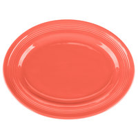 Tuxton CNH-136 Concentrix 13 3/4 inch x 10 1/2 inch Cinnebar Oval China Platter - 6/Case
