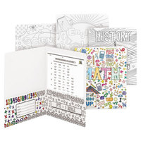 Smead 87910 Letter Size Coloring 2-Pocket Paper Pocket Folder - Math, Science, History, and English - 4/Pack