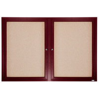 Aarco CBC3660R 36 inch x 60 inch Enclosed Indoor Hinged Locking 2 Door Bulletin Board with Cherry Frame