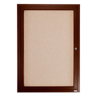 Aarco WBC2418R 24 inch x 18 inch Enclosed Hinged Locking 1 Door Bulletin Board with Walnut Finish