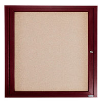 Aarco CBC3636R 36 inch x 36 inch Enclosed Indoor Hinged Locking 1 Door Bulletin Board with Cherry Frame