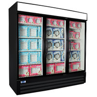 Nor-Lake NLGFP74-HG-B AdvantEDGE 78 inch Black Glass Door Merchandiser Freezer - 70.2 Cu. Ft.