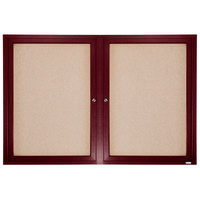 Aarco CBC4872R 48 inch x 72 inch Enclosed Indoor Hinged Locking 2 Door Bulletin Board with Cherry Frame