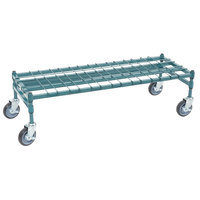 Regency 18 inch x 48 inch Heavy-Duty Mobile Green Dunnage Rack with Mat
