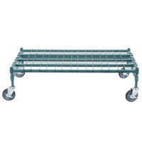 Regency 24 inch x 48 inch Heavy-Duty Mobile Green Dunnage Rack with Mat