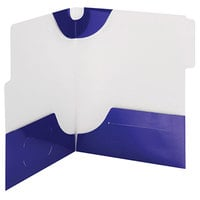 Smead 87964 SuperTab Lockit Letter Size 2-Pocket Laminated Pocket Folder - 1/3 Cut Top Tab, Blue - 5/Pack