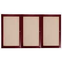 Aarco CBC4872-3R 48 inch x 72 inch Enclosed Indoor Hinged Locking 3 Door Bulletin Board with Cherry Frame