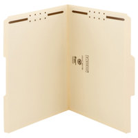 Smead 14547 100% Recycled Letter Size Fastener Folder with 2 Fasteners - Reinforced 1/3 Cut Assorted Tab, Manila - 50/Box