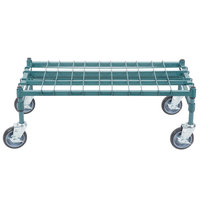 Regency 18 inch x 36 inch Heavy-Duty Mobile Green Dunnage Rack with Mat