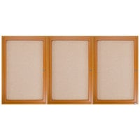 Aarco OBC4896-3R 48 inch x 96 inch Enclosed Indoor Hinged Locking 3 Door Bulletin Board with Natural Oak Frame