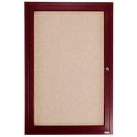 Aarco CBC3624R 36 inch x 24 inch Enclosed Indoor Hinged Locking 1 Door Bulletin Board with Cherry Frame