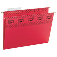 Smead 64043 8 1/2 inch x 11 inch Red 1/3 Cut Tab Tuff Hanging Folder with Easy Slide Tab - Letter - 18/Box
