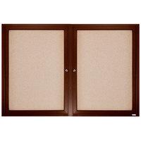 Aarco WBC3660R 36 inch x 60 inch Enclosed Hinged Locking 2 Door Bulletin Board with Walnut Finish