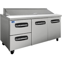 Nor-Lake NLSP72-18-003 AdvantEDGE 72 3/8 inch 2 Door 2 Drawer Refrigerated Sandwich Prep Table