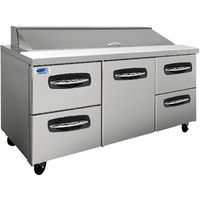 Nor-Lake NLSP72-18-005 AdvantEDGE 72 3/8 inch 1 Door 4 Drawer Refrigerated Sandwich Prep Table