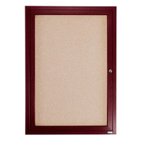 Aarco CBC2418R 24 inch x 18 inch Enclosed Indoor Hinged Locking 1 Door Bulletin Board with Cherry Frame
