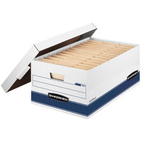 Fellowes 00702 Banker's Box 15 7/8 inch x 25 3/8 inch x 10 1/4 inch White Legal Sized File Storage Box with Lift-Off Lid - 12/Case