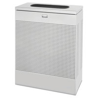 Rubbermaid FGSR18ERBSM Silhouettes Metallic Silver Steel Designer Rectangular Waste Receptacle - 40 Gallon