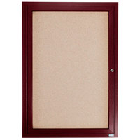 Aarco CBC3630R 36 inch x 30 inch Enclosed Indoor Hinged Locking 1 Door Bulletin Board with Cherry Frame