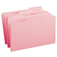 Smead 17634 Legal Size File Folder - Standard Height with Reinforced 1/3 Cut Assorted Tab, Pink - 100/Box