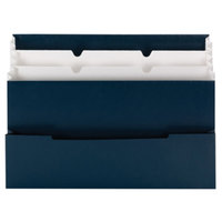 Smead 70231 8 1/2 inch x 12 1/2 inch Navy and White Mini 4 Pocket Stadium File