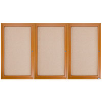 Aarco OBC4872-3R 48 inch x 72 inch Enclosed Indoor Hinged Locking 3 Door Bulletin Board with Natural Oak Frame