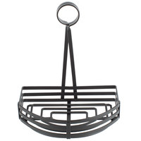 Choice Black Half Round Flat Coil Wrought Iron Condiment Caddy with Card Holder - 8 inch x 9 1/2 inch