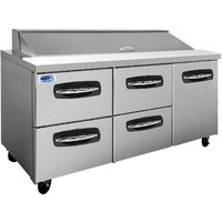 Nor-Lake NLSP72-18-007 AdvantEDGE 72 3/8 inch 1 Door 4 Drawer Refrigerated Sandwich Prep Table