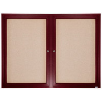 Aarco CBC3648R 36 inch x 48 inch Enclosed Indoor Hinged Locking 2 Door Bulletin Board with Cherry Frame