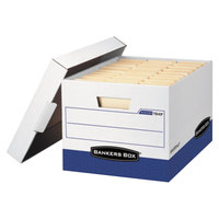 Fellowes 0724303 Banker's Box R-KIVE 12 3/4 inch x 16 1/2 inch x 10 3/8 inch White Letter/Legal Sized File Storage Box with Lift-Off Lid - 4/Case
