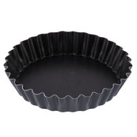 Matfer Bourgeat 331613 4 1/8 inch Exopan Non-Stick Fluted Round Steel Tartlet / Quiche Pan - 12/Pack