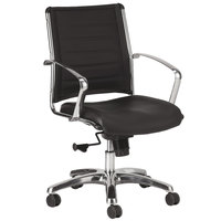 Eurotech LE822BLK Europa Leather Series Black Leather Mid Back Swivel Office Chair