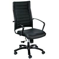 Eurotech LE111TNM-BLKL Europa Metallic Series Black Leather High Back Swivel Office Chair