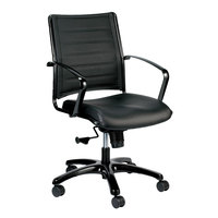 Eurotech LE222TNM-BLKL Europa Metallic Series Black Leather Mid Back Swivel Office Chair