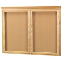 Aarco OBC3648RC 36 inch x 48 inch Enclosed Indoor Hinged Locking 2 Door Bulletin Board with Natural Oak Frame and Crown Molding