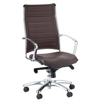 Eurotech LE811BRN Europa Leather Series Brown Leather High Back Swivel Office Chair