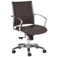 Eurotech LE822BRN Europa Leather Series Brown Leather Mid Back Swivel Office Chair