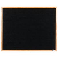 Aarco AOFD2430 24 inch x 30 inch Black Felt Open Face Horizontal Indoor Message Board with Oak Wood Frame and 3/4 inch Letters
