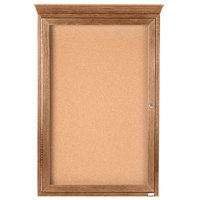 Aarco OBC3624RC 36 inch x 24 inch Enclosed Indoor Hinged Locking 1 Door Bulletin Board with Natural Oak Frame and Crown Molding