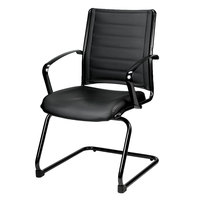 Eurotech LE333TNM-BLKL Europa Metallic Series Black Leather Arm Chair