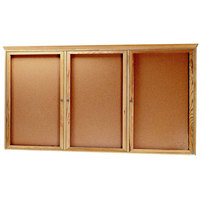 Aarco OBC4896RC 48 inch x 96 inch Enclosed Indoor Hinged Locking 3 Door Bulletin Board with Natural Oak Frame and Crown Molding