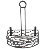 Choice Black Half Round Birdnest Wrought Iron Condiment Caddy - 8 1/2 inch