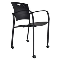 Eurotech STAQCASBLK Staq Series Black Plastic Chair with Casters