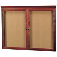 Aarco CBC3648RC 36 inch x 48 inch Enclosed Indoor Hinged Locking 2 Door Bulletin Board with Cherry Frame and Crown Molding