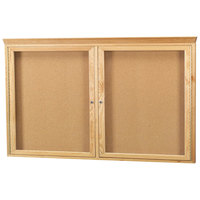 Aarco OBC3660RC 36 inch x 30 inch Enclosed Indoor Hinged Locking 2 Door Bulletin Board with Natural Oak Frame and Crown Molding