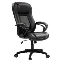 Eurotech LE521 Pembroke Black Leather High Back Swivel Office Chair with Padded Arm Rests
