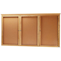 Aarco OBC3672RC 36 inch x 72 inch Enclosed Indoor Hinged Locking 3 Door Bulletin Board with Natural Oak Frame and Crown Molding