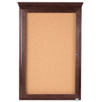 Aarco CBC3624RC 36 inch x 24 inch Enclosed Indoor Hinged Locking 1 Door Bulletin Board with Cherry Frame and Crown Molding